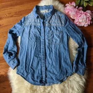 UO staring at stars denim jean button up shirt